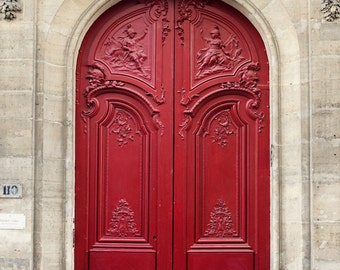 Paris Photography, Red Door, Paris Print, Romantic Art Print, Red Paris Decor, French Home Decor, Paris Architecture Print