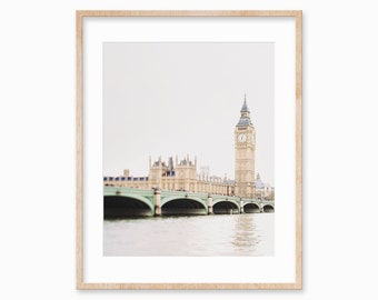 London Print, Big Ben, London Skyline, Travel Photography Print, London Cityscape, Large Wall Art, Modern Minimalist Wall Art