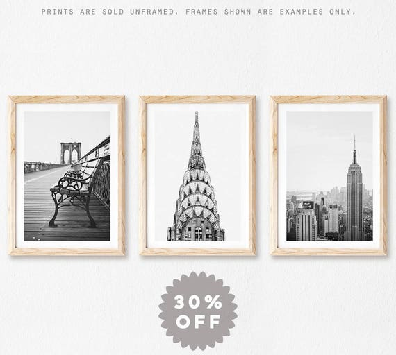 New York Print Set Black and White Prints New York City   Etsy