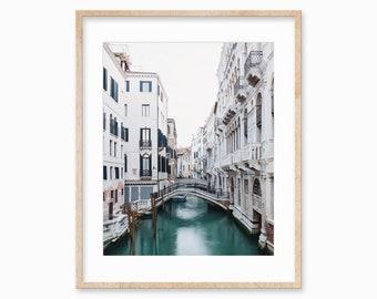 """Venice Canal, Venice Italy Photography, City Art Print, Wall Art, Italian Wall Decor, Home Decor, Travel Photo, Teal, White """"Venezia"""""""
