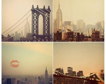 Square New York Prints, Wall Art, NYC Photography Prints, New York Skyline, Set of 4 Prints, Travel Photography, Square Print Set