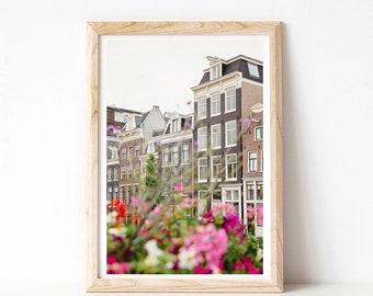 Amsterdam Print, Canal Houses with Flowers, Scandinavian Wall Art, Europe Photo, Amsterdam Art, Travel Photography Print