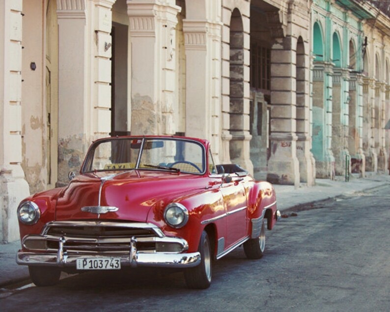72ef5dccab91 Old Havana Cuba Photo Red Vintage Car Car Lover Gift for