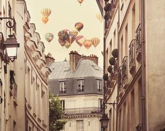 Hot Air Balloons, Paris Photography, Paris Wall Art, Large Wall Art Print, Fine Art Photography Print, Wall Decor, Beige, Travel Photo 8x10