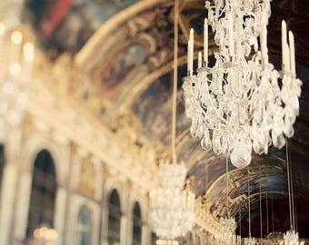 "Versailles Chandelier Print, Gold Paris Decor, Paris Bedroom Decor, Paris Art Print, Paris Photography, Gold Wall Art Print ""Secret History"""