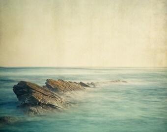 "Ocean Photography, Beach Art, Coastal Decor, Landscape Photography, Nature, Nautical Decor, Blue Seascape, 8x8 ""Be Here Now"""