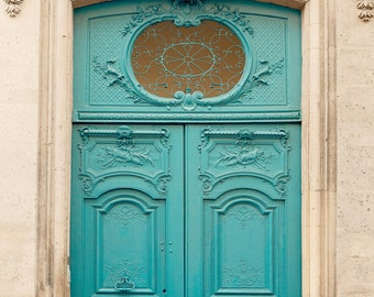 """Blue Door Photograph, Mothers Day Gift, Paris Photography Print, Architecture Print, Blue Wall Decor """"First Impressions"""""""