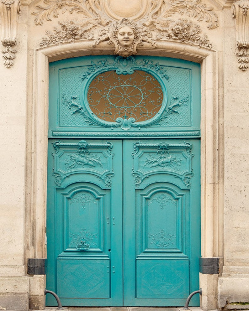 Blue Paris Door Photograph Paris Print Photography Print image 0