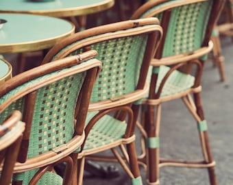 "Green Paris Bistro Chairs, Kitchen Decor, Kitchen Wall Art, Mothers Day Gift, Paris Photography, French Home Decor, Paris Cafe ""Le Mint"""