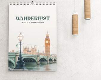2022 Wall Calendar, Travel Photography Calendar, Deluxe Wanderlust 2022 Calendar, Office Decor, City Art, Travel Gift