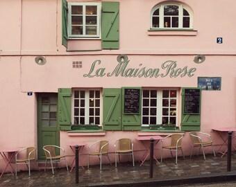 La Maison Rose - Paris Print, Mothers Day Gift, Pink Paris Cafe in Montmartre, Bistro, Paris Photography, Pastel Art, Chairs, Restaurant