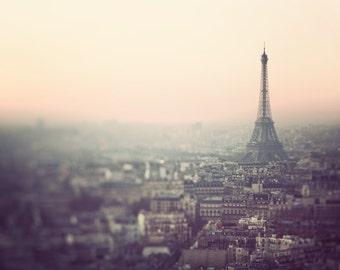 Paris Photography, Eiffel Tower Print, Paris Skyline at Sunrise, Pastel Wall Art, French Wall Decor, Home Decor - Morning in Paris