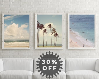 SALE Beach Photography Set, Beach Decor, Summer Art, Three Ocean Prints, Blue Wall Art, Ocean Art, Beach House Decor, Ocean Decor,Palm Trees