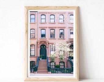 Greenwich Village Photograph, New York Print, New York City Photography, Pink Wall Art Prints, New York Brownstone Architecture Print