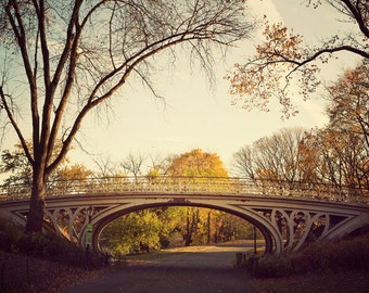 """Central Park Gothic Bridge, NYC Photography, Architecture Print, Fall Photography, New York Sunrise Wall Art,  """"Autumn Spandrels"""""""