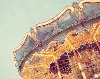 "Carnival Photography, Merry Go Round, Pastel Art, Nursery Decor, Kids Wall Art, Carousel Photo, Summer Decor,  8x8 ""Ticket to Ride"""