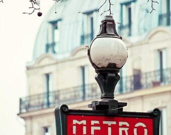 """Paris Print, Metro Sign, Red, Paris Photography Print, Romantic Travel Photography """"Dans Le Metro"""""""
