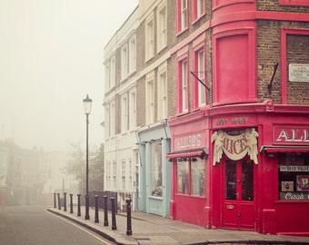 "London Photography Print, London Art Print, Travel Gift, Notting Hill Antique Shop, London Fog, Wanderlust, Portobello Road ""Alice's"""