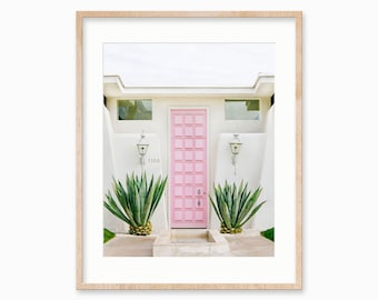 Palm Springs, Art Print, Mid Century Wall Art, Modern, Architecture Photography Print, Pink Door, Mid Century Modern, Home Decor
