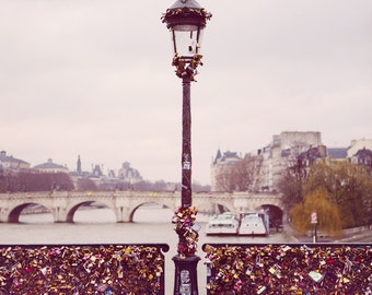 "Pont Des Arts Bridge, Paris Photography Print, Large Wall Art Print, Bedroom Wall Decor, Paris Decor, Pink French Decor ""Love Locks"""