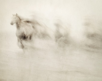 Horse Art, Abstract Art Prints, Fine Art Photography, Watercolor Effect, Nature Photography, Running Horses, Large Wall Art, Sepia
