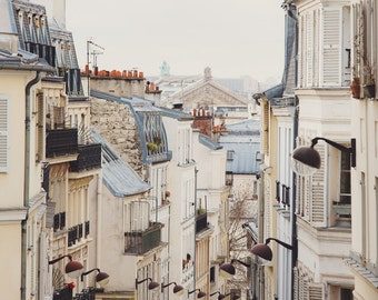 Paris Photography, Rooftops in Montmartre, Parisian Cityscape, Paris Wall Art, White and Grey,Paris Photography Print - Montmartre Mon Amour