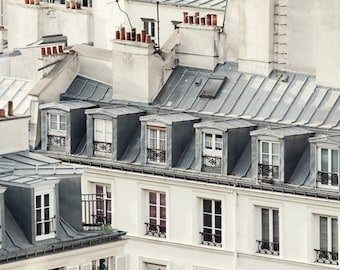 "Paris Rooftops, Paris Photography, Architecture Art, Fine Art Photography Print, Gray Wall Art, French Home Decor, Paris Print ""Soliloquy"""