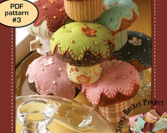 Cupcake Pincushion ( stuffed plush applique embroidery muffin food softie toy quilt pattern )