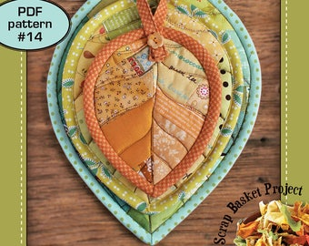Leaf Potholders ( scrappy patchwork mug-rug hot-pad coaster quilt pattern )