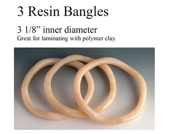 3 larger Resin Bangles, great for laminating with polymer clay
