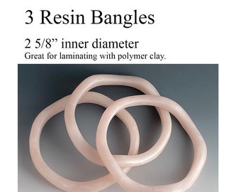 3 Resin Bangles, great for laminating with polymer clay!