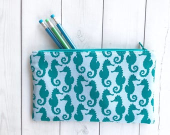 Sea Horses Pencil Case Gift For Her Stocking Stuffer Under The Sea Pencil Pouch Ocean Makeup Bag Zippered Pouch Student Gift Sea Creatures