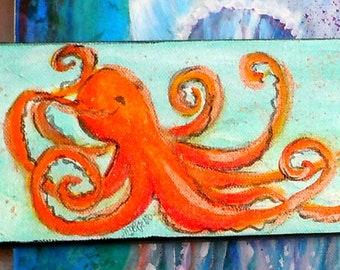 Octopus original painting, seashore beach house art, coastal living decor,abstract sea painting, nautical decor, orange blue gold