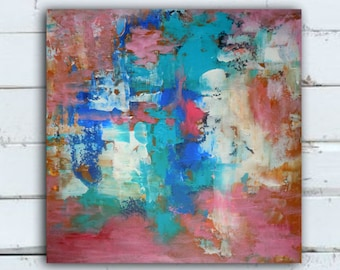 Abstract painting thickly textured living room art, bedroom art, dining room art, Nursery wall art, colorful abstract art