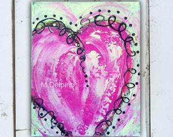 Pink abstract heart, original pink heart painting,FREE SHIP whimsical heart, pink black, girly wall art,