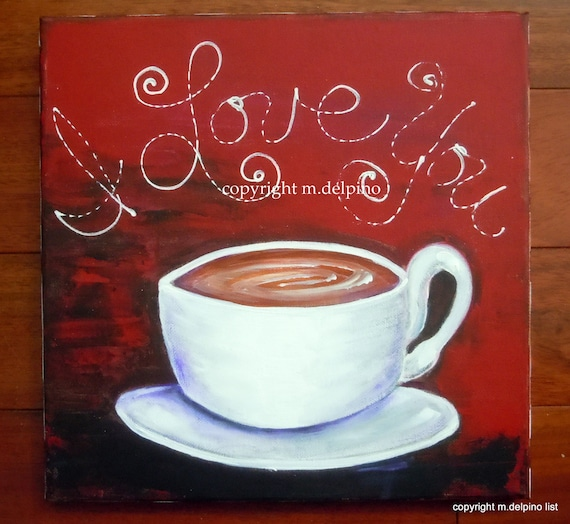 Coffee Cup Painting Canvas Red White Black Kitchen Wall Art Etsy