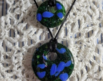 """Perfect Pair set of fused glass pendants in """"Forest Pool"""" free North American shipping"""