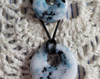 """Perfect Pair set of fused glass pendants in """"Snow Dusted Pebble"""" free North American shipping"""