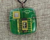 Recycled Circuit Board, Polymer Clay, Copper & Resin - Woman in Technology