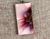 Floral Pendant - Mauve - Airbrushed Ink Painting