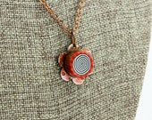 Floral Spiral Pendant - Hand-Forged Copper and Polymer Clay Necklace