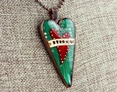 Heart Pendant / Necklace - STRONG - Unbroken Heart - Love / Friendship - Recycled Circuit Board - Copper - Colored Pencil Illustration