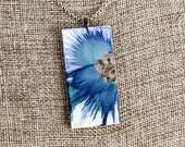 Floral Pendant - Blue & Silver - Airbrushed Ink Painting