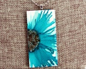 Teal Floral Pendant - Airbrushed Inks