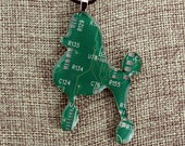 Poodle Pendant - Whimsical Recycled Circuit Board, Copper & Resin Pendant