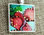 Alcohol Ink Charm Pendant - Hand-Painted Abstract Design - Red, Aqua, Green w/Gold Accents - Silver Tray - Colorful, Bright & Beautiful