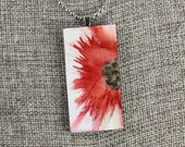 Floral Pendant - Brick Red - Airbrushed Ink Painting