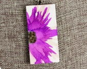 Purple Floral Pendant - Airbrushed Ink Painting
