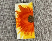 Floral Pendant - Orange, Yellow, Sienna - Airbrushed Ink Painting