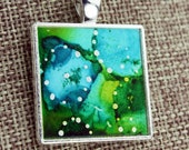 Alcohol Ink Charm Pendant - Hand-Painted Abstract Design - Aqua, Green w/Silver Accents - Silver Tray - Colorful, Bright & Beautiful